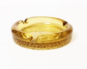 Vintage Ashtray, Vintage Golden Glass 1970s, Medium size ashtray