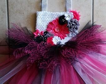 zebra tutu dress, hotpink tutu dress, hotpink and black tutu dress, hotpink tutu dress, pink tutu, birthday tutu dress, photo prop tutu
