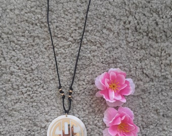 Monogram Necklace, Monogram Pendant, Nacre Necklace, Mother of Pearl Necklace, Keychain