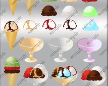 Ice Cream Clip Art 20 Ice Cream Cones Clipart Make Your Own Ice Cream Digital Scrapbooking Elements Personal and Commercial Use