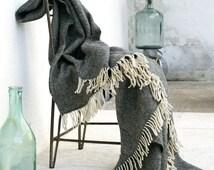Gray wool blanket,Sofa throws,Cream fringed,Wool throw blanket,Warm,Wool blanket,Fringed Blanket,Wool throw,Winter