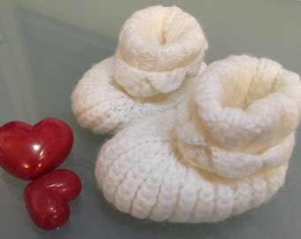 Hand Knitted Baby Shoes White