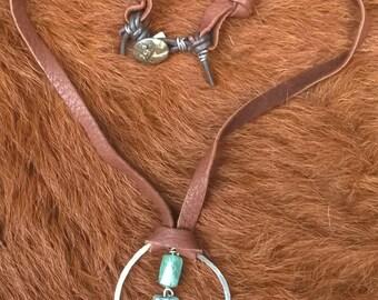 Kyanite, Aquamarine and Deerskin Necklace