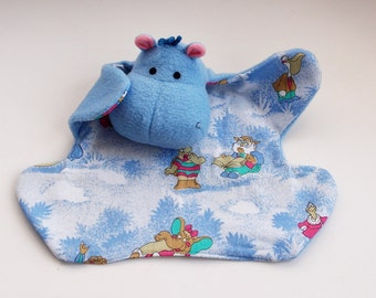 Funny Hippo Baby Comforter, Baby Lovey , Baby Security Blanket, Soft Baby Toy, Sensory Toy, New Baby Gift, Baby Shower Gift