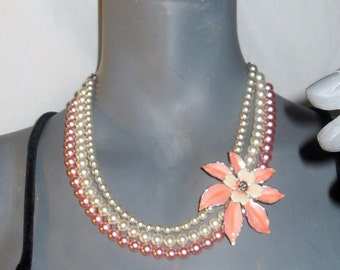 ANTHROPOLOGIE White/Pink Faux Pearl/Rhinestone Flower Pendant Multi-Strand Necklace