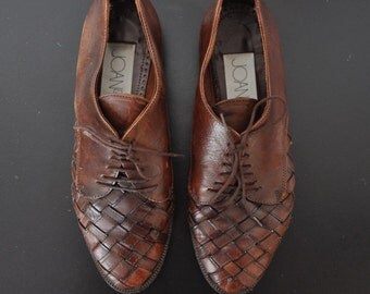 Vintage Joan and David Brown Leather Woven Oxford Shoes - Sz 7 (37.5)