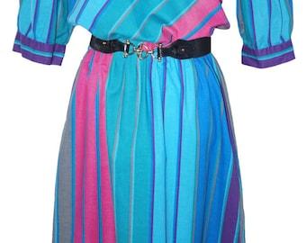 1980's Turquoise Vintage Stripe Dress