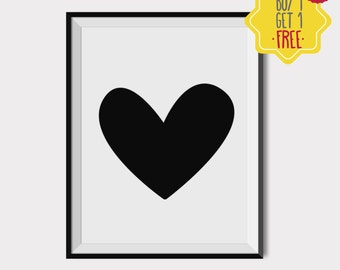 Black heart,Nursery decor girl,Printable Wall Art,Nursery Decor,Girl Nursery Art,Kids Room Decor,Baby gift ideas,8x10 print,INSTANT DOWNLOAD