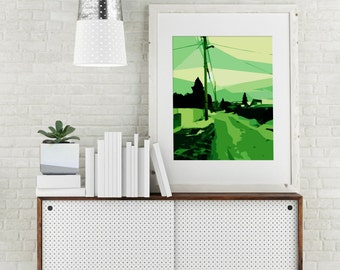 "Modern Wall Art, Mid Century Art Print, Abstract Landscape, Back Alley, Nostalgic Art, Vintage Art, Colorful Art, Green Art, ""The Old Lane"""