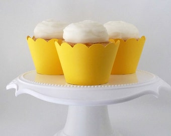 Set of 12 – Yellow Cupcake Wrappers – Standard Sized - Ready To Ship