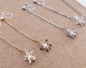 Invisible clip on star charm earrings. Clip on earrings .Non pierced earrings