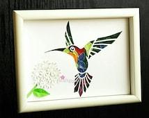 10%OFF on Hummingbird Art, Paper Hummingbird and Hydrangea Flowers, Hummingbird Wall Art, Quilled Paper art.