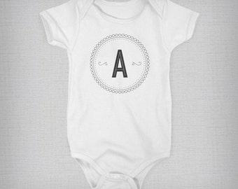 Custom Monogram Onesie, Personalized Onesie, Baby Onesie, Baby Boy, Baby Girl, Baby Gift, Unique Onesie, Retro Onesie, Retro Baby Clothes