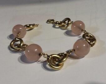Italian bracelet, rose quartz and 14k gold links