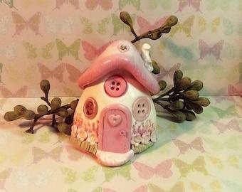 Button cottage, fairy house, miniature house