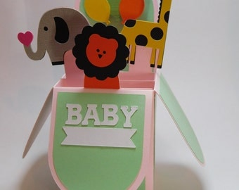 Baby safari pop up box card- Can put 1st Birthday instead of Baby