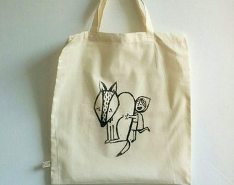 Little red riding hood and the big bad wolf tote bag | handmade screen print