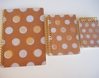 Set of 3 white and Golden spiral format notebook A5-A6-A7 pea, hard cover in caton / / book spiral / / spiral note book