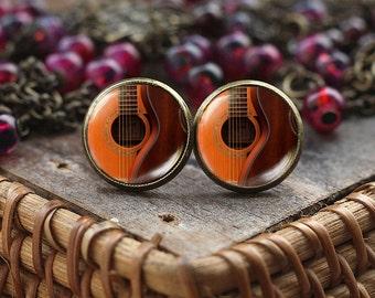 Guitar stud earrings, Acoustic Guitar Art earrings, guitar jewelry, music earrings, Guitar player gift, Gift for musician, guitar girl gift