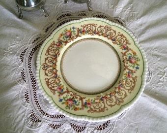 Antique Cake Plates, Set of Six, Fine China Cake Plates, Cauldon Cake Plates, Floral Border, Six Cake Plates, Cauldon China Cake Plates