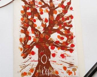 Block Print Card Autumn Tree Four Color (Blank Inside)
