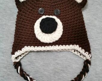 Baby Bear Hat / Handmade Crochet / Size Newborn / 0-3 Months / For Baby Boy or Girl Unisex / Baby Shower Gift / Winter Hat / Animal / Brown