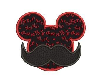 Mickey applique , Mustache applique design , Mustache embroidery, Disney applique design , Mickey head applique , Machine embroidery