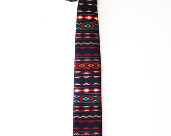 Skinny necktie with colorful tracery. Trendy bright tie. fashionable tie. stylish tie