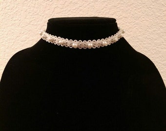 Wedding Bridal White Lace with Pearl and Silver Chain Choker Necklace