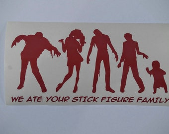 Zombie Stick figure family decal waterproof, weatherproof, car decal, we ate your stick figure family