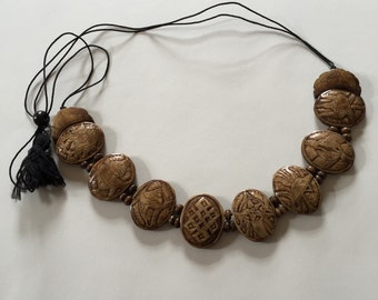 Cool Stylish Vintage Carved Wood Adjustable Necklace