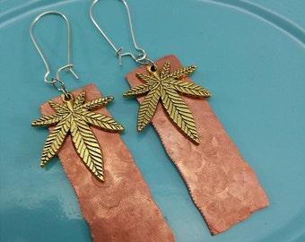 Cannabis Leaf Earrings Copper Tri-Color.