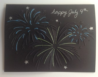 Fourth of July fireworks card, handmade embossed.  July 4th, 4th of July, Independence Day, patriotic cards.