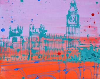 LONDON ORIGINAL PAINTING ~ Big Ben original acrylic painting on Canvas, small wall art, 30 x 30 cm Pink, blue, turquoise art by Sasha Barnes