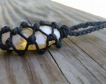 Hemp Wrapped Citrine Necklace, Polished Citrine Jewelry, Healing Crystal Jewelry, Healing Crystal Necklace, Citrine Pendant