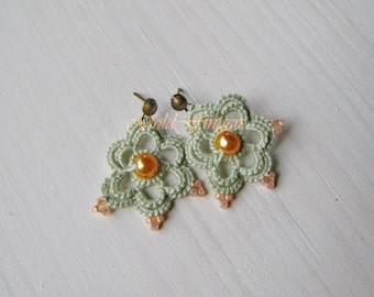 Floral Stud Earrings Minty