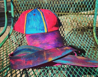 """Hand Painted One of a Kind Baseball Cap """"Hampton's Breeze"""" by Laz FREE SHIPPING Brand New & Adjustable"""
