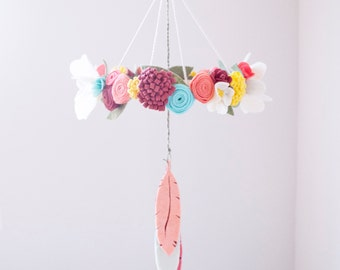 Felt Feather and Flower Baby Mobile: Southwest Charm (Tribal) Nursery Decor - Floral Crib Mobile- Flower Chandelier -Custom Colors Available