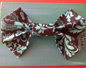 Black and Turquoise Floral Print Bow