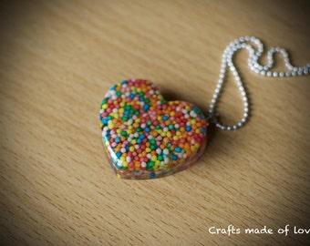 Large heart shaped sprinkles pendant
