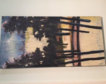 dramatic large abstract painting of trees fantastic in living room!