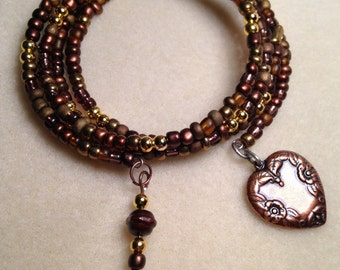 Brown and gold glass beaded memory wire bracelet