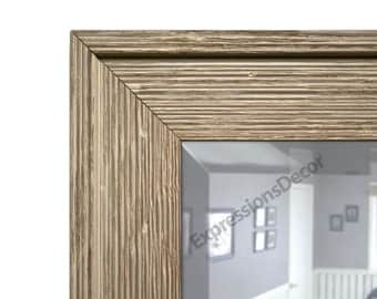 Custom Ribbed Weathered Rustic Wood Wall Mirror - Beveled Glass - FREE SHIPPING