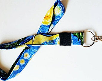 Vincent Van Gogh's Starry Night lanyard Gogh Unique Gift ID Badge Keychains and Lanyards Card ID Holder ID Badge Holder Name Badge