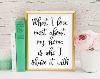 What I love most about my home is who I share it with Printable, Digital Printable