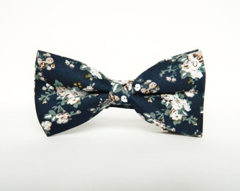 Navy blue floral bow tie Pre-Tied bow tie gift for men wedding navy bow tie
