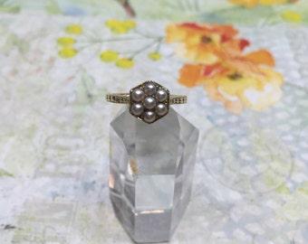Vintage 14k Seed Pearl Ring - Wedding ring / Anniversary ring