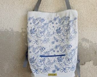 Tote backpack cotton bag floral women backpack convertible laptop bag printed school backpack casual purse rucksack tote bag backpack cotton