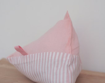 Berlingot 20cm cotton plain pink and pink stripes cushion