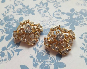 Gold Rhinestone Shoe Clips with Prongs. Foil Backed Diamontès. 1950's Vintage New Old Stock.